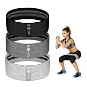 #LightningDeal Te-Rich Resistance Bands for Legs and Butt, Fabric Workout Loop Bands, Set of 3 (Pink/Gray/Black)