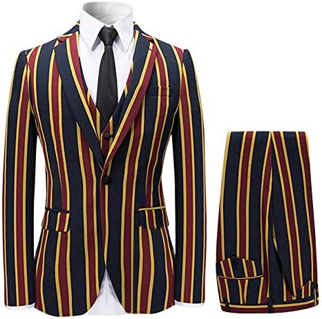 YFFUSHI Mens Colored Striped 3 Piece Suit Slim Fit Tuxedo Blazer Jacket Pants Vest Set Red Small product image