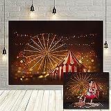 Circo fotografía de Fondo Paisaje Nocturno Dorado Bokeh Carpa niños cumpleaños Retrato Fondo Estudio fotográfico Vinyl-250x180cm