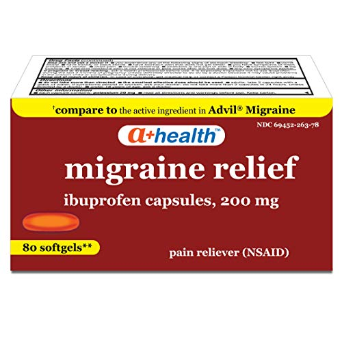 A+Health Ibuprofen Migraine 200 Mg Softgels, Pain Reliever (NSAID), Made in USA, 80 Count