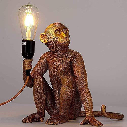 Monkey Lamp Schwarz-Stehend Harz Affe Tischlampe Wandlampe Kronleuchter Stehlampe schwarz Harz Material E27 kreative Land Retro Kronleuchter Bar Cafe Restaurant Hanf KronleuchterTischlampe