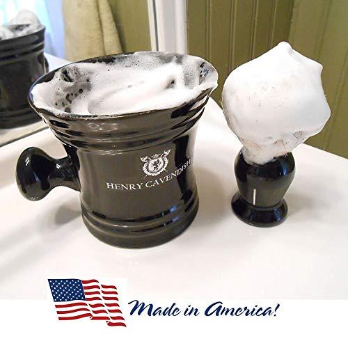 Gentleman's Bol à savon de rasage en céramique avec poignée. Améliorez votre rasage avec la...
