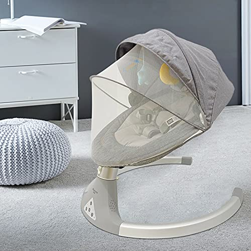Ingenuity - Columpio plegable para bebé con 5 velocidades de balanceo, cinturón...