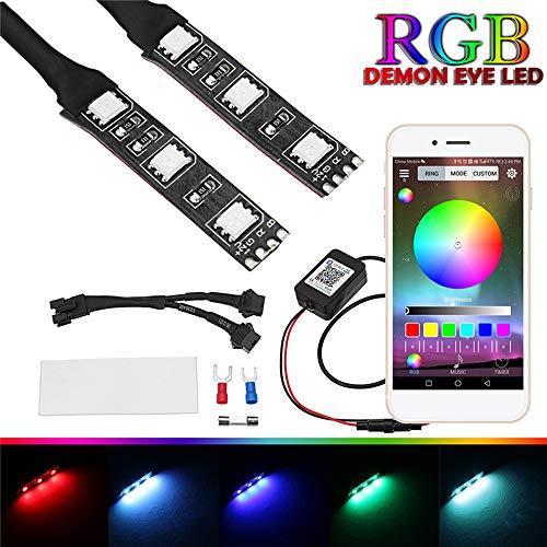 RISHENG 2 Unids RGB Redondo LED Demon Proyector Eye Devil Eye Light General Motor Faros Proyector Actualización de Aplicación Control Remoto