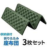 Aoakua 折りたたみ 座布団 コンパクト サウナマット レジャーマット 厚手 3枚セット (グリーン) 収納袋付