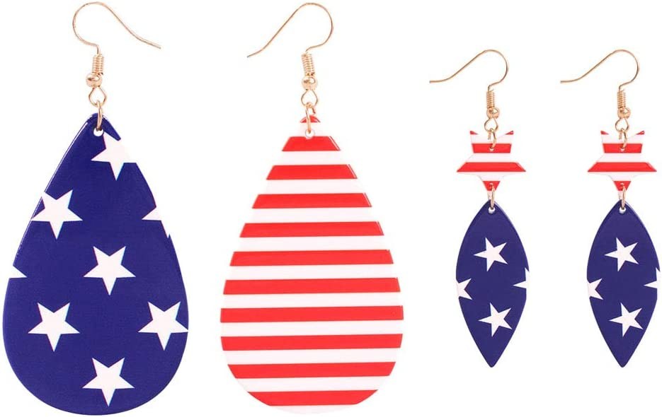 PartyKindom 2 Pairs US Flag Design Earrings Stylish Eardrop Ear Accessories Casual Jewelry Party Ear Decor for Women Girls for 4th of July Home Decor