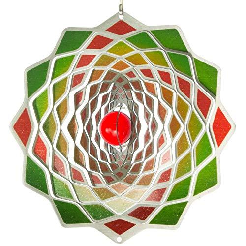 Edelstahl Windspiel - Flower 200 Lotus - beidseitig koloriert - mit Haken, Kugellagerwirbel und Kristallkugel (Lotus)