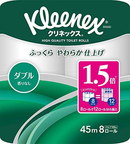 クリネックス 1.5倍巻き コンパクト トイレット8ロール 45mダブル