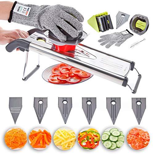 IDEAL Pro Mandolin Food Slicer, 6 in 1 Kitchen Vegetable Slicer, Cutter, Chopper, Grater, Julienne. Professional Stainless Steel V-Blade Mandoline, Ideal for Potato, Onion, Tomatoes, Fruit, Chips
