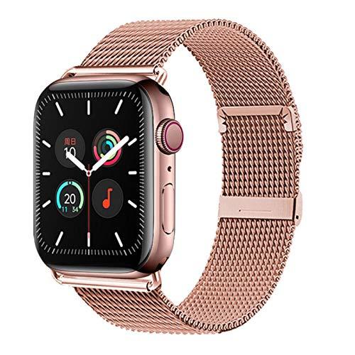 Correa Milanese Loop de acero inoxidable para Apple Watch 6 Se 40 mm 44 mm Correa de reloj para iWatch 38 mm 42 mm Serie 5/4/3/2-Oro rosa, 42 mm o 44 mm