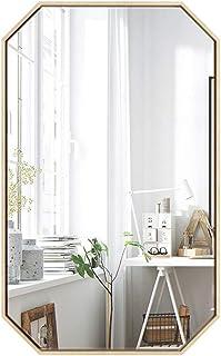 Espejo de Pared Grande Limpio Octagonal Espejo de vanidad Hierro Marco Dorado Aparador Espejo para entradas Salones baños...