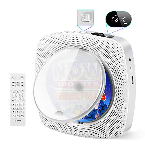 Portable CD Player, Comter Wall Mountable CD Music Player with Built-in HiFi Speakers, Home Audio Boombox with FM Radio,USB MP3 Music Player, 3.5mm Headphone Jack AUX, Remote Control Input Output