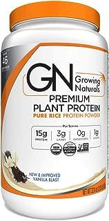 Growing Naturals Organic Premium Rice Protein Powder, Vanilla Blast, Non-GMO, Vegan 32.8 Ounce