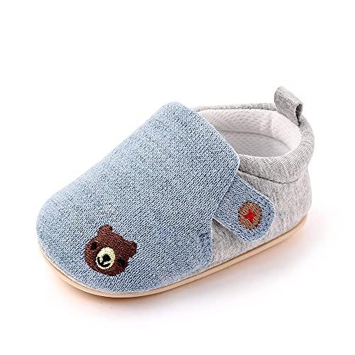 Cheerful Mario Primeros Pasos Zapatos para Bebé Niñas Niños Zapatillas de Estar por casa Suela Blanda Respirable Pantuflas Infantiles Azul 6-12 Meses