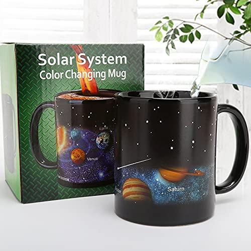 Star Sky - Taza de cerámica con sistema solar que cambia de color, creativa mágica detección de temperatura, taza de cerámica alta con asa, regalo para hombre/mujer/madre/esposa/padre/niño