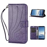 Samsung Galaxy Note 8 Wallet Case,Premium Emboss Butterfly Flip Wallet Cover, [Kickstand Feature] [Wrist Strap] [Slots] Credit Cards Pocket for Samsung Galaxy Note8 (Purple)