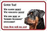 AdriLeo Schild - Vorsicht Rottweiler - Wir kaufen nichts - (30x40cm) / Achtung Hund Wachhund