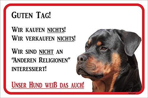 AdriLeo Schild - Vorsicht Rottweiler - Wir kaufen nichts - (20x30cm) / Achtung Hund Wachhund
