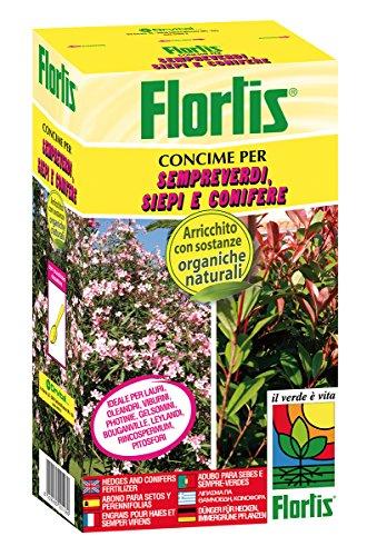 Flortis 1110191 Concime Organo Minerale Azione Rinverdente, Sempreverdi, Siepi e Conifere, 1000 g, 7.5x13.5x24 cm