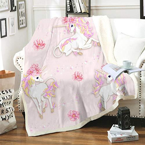 Manta Unicornio Animal Rosa Blanco Amarillo Dibujos Animados Flor Animal Manta Impresa en 3D súper Suave y acogedora Sherpa Polar Manta (130 x 150 cm) para niños,niños,Adultos,Cama,sofá y Viaje de