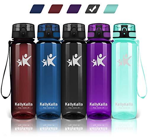 KollyKolla Botella Agua Sin BPA Deportes 800ml, Reutilizables Ecológica Tritan Plástico, Bebidas Botellas con Filtro & Marcador de Tiempo, para Bicicletas, Tapa Abatible de 1 Clic, Negro Brillante