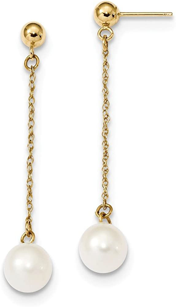 14k Yellow Gold 8mm White Round Freshwater Cultured Pearl Drop Dangle Chandelier Post Stud Earrings Fine Jewelry For Women Gifts For Her
