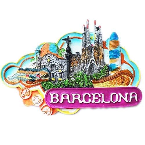 Imán 3D para nevera 3D con diseño de España realizado en resina, colección de viajes, ideal como recuerdo de viaje, regalo turístico, decoración para el hogar y la cocina, adorno magnético par