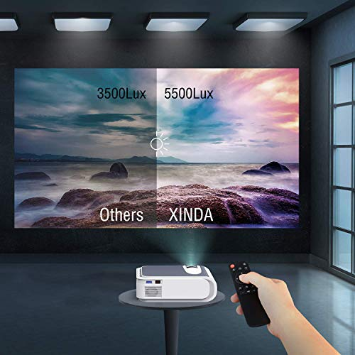 XINDA Projector, XINDA Projector with 4600 Lumen,220' Display Video Projector.Home Theater Projector 1080P Supported,Compatible with Fire TV Stick,Smartphone,PS4,HDMI,TF,VGA,AV USB