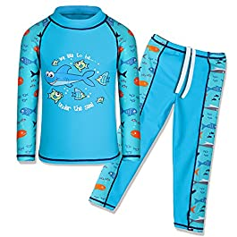 TFJH E Kids Boys Swimsuit UPF 50+ UV Sun Protective 2PCS Fish...