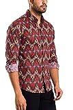 Camisa de manga larga para hombre BİBLOS UOMO de corte ajustado, fácil de planchar, tallas de la UE de la S a la 3XL, impresión digital de alta calidad Colores y patrones variados en rojo. L