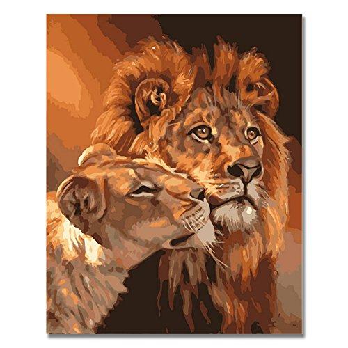 Rihe Malen nach Zahlen, Ölgemälde zum Selbermalen, mit Holzrahmen, Motiv: Tiger, Kunstwerk auf Leinwand, Wanddekoration, Leinwand, König der Löwen, without frame
