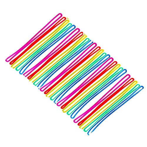 200PCS Amersumer 6Inch Colored Plastic Luggage Tag Worm Loop Strap for Bag Tags (Red, Yellow, Blue, Green, Purple)