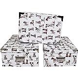 2J Juego de 3 Cajas Grandes de cartón para Perros Cajas de Almacenamiento de Cachorros de Perro con ángulos y Asas de Metal. Tamaños: 31.5x22x12, 33.5x23x13, 36x25x13.5 cm