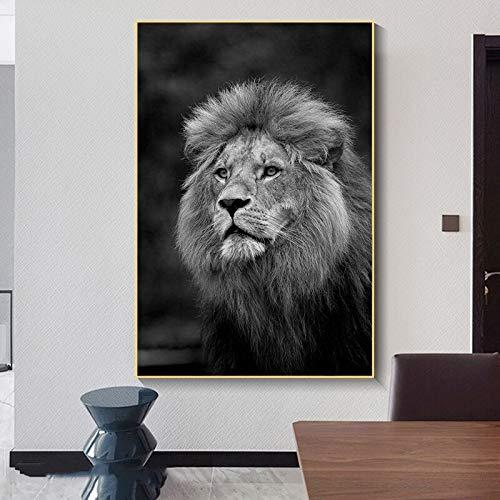 wZUN Póster de león Blanco y Negro, Pintura en Lienzo, Mural, Carteles de Animales Salvajes africanos, e imágenes murales para la decoración de la Sala de Estar 60X90 Sin Marco