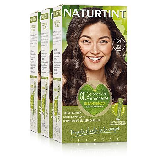 Naturtint. Coloración Permanente Sin Amoniaco. 100% Cobertura de Canas. Ingredientes Vegetales. Color Natural y Duradero. 5N Castaño Claro. Pack de 3.