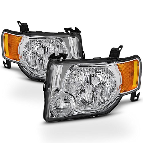 ACANII - For 2008-2012 Ford Escape Chrome Factory Style Headlights Headlamps 08-12 Driver + Passenger Side