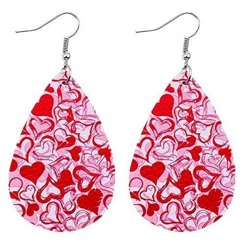 Women Girls Valentine's Day Party Faux Leather Drop Dangle Earrings Accessory,Drop Shape Cute Printing Hanging Earrings for Women Dangle,Fashion