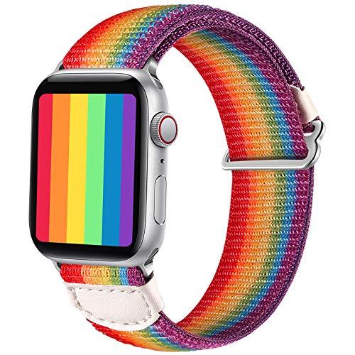 JUVEL Kompatibel mit Apple Watch Armband 38mm 40mm 42mm 44mm, Weiche Nylon Gewebe Sport Schlaufe Ersatz Armbänder Kompatibel für iWatch SE/iWatch Series 6/5/4/3/2/1, 38mm/40mm, Regenbogen