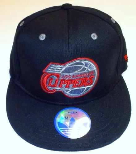 adidas NBA Los Angeles Clippers Flat Bill Flex - Gorro, Plano, S-M, Negro