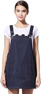 電磁波防止デニムサスペンダースカート 99.9%の遮蔽率 デニム 実用性抜群 電磁波エプロン JOYNCLEON マタニティ 妊婦 ネイビー (XL)