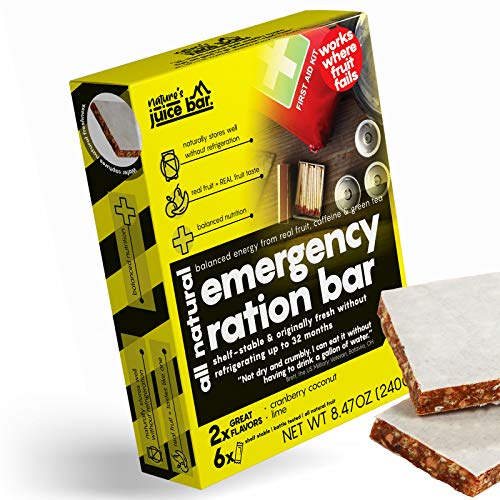 Nature's Juice Bar Emergency Food Bars - Meal Replacement for Survival, Disaster Preparedness that Provides Healthy Energy, Nutrition- Gluten-Free