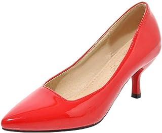 [Coolulu] レディース パンプス ポインテッドトゥ ピンヒール レディース ミドルヒール パンプス カジュアル シューズ レディース 履きやすい靴