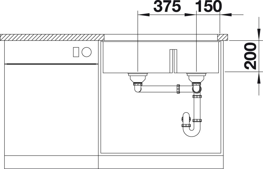 Fregadero Doble de Montaje Bajo Encimera para Armarios Bajos de 80 cm de Ancho BLANCO SUBLINE 430//270-U Gris 523153 De SILGRANIT