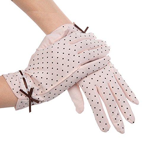 Kenmont Sommer-Frauen-Dots Sun UV-Schutz im Freien 100% Baumwolle Driving-Handschuhe (rosa)