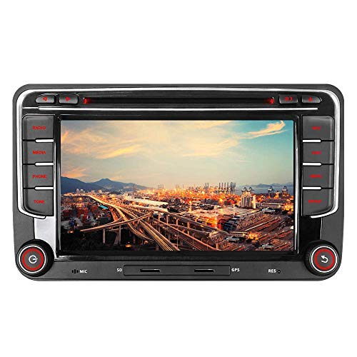 "Junhua 16GB Autoradio Navi für VW Golf 5 Plus 6 Passat B6 Polo 6R Skoda Fabia Seat Leon 7"" DVD Player GPS Navigation 2 Din Radio Bluetooth USB Unterstützt Kamera Lenkrad Bedienung 1080P Video SD"