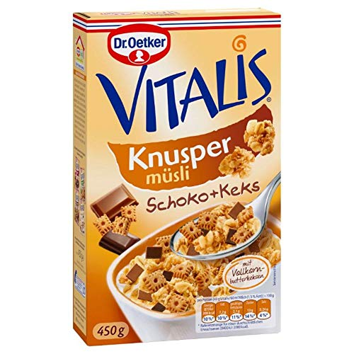 Dr. Oetker Vitalis Knuspermüsli Schoko-Keks, Knuspermüsli mit Schokostückchen und Keksung (1 x 450g)