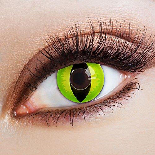 aricona Kontaktlinsen - Gift-Grüne Kontaktlinsen Motivlinsen Katzenaugen - bunte farbige Kontaktlinsen grün ohne Stärke für Karneval, Fasching, und Kostüm-Partys, 2 Stück