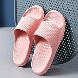 WXDP Pantuflas cálidas, sandalias de cuña baja sin cordones en los dedos del pie, suela suave, antideslizante y desodorante zapatillas de baño - 35-36_rosa, para mujeres/hombres