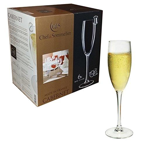 Chef e Sommelier – Ligne Cabernet – Lot de 6 flûtes 16 cl pour Prosecco et champagne