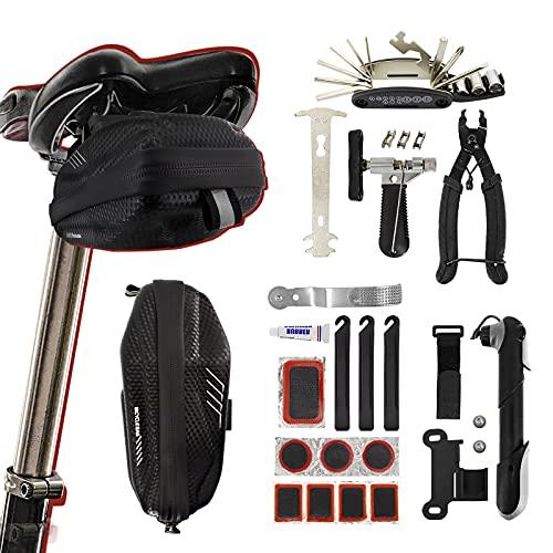 Fahrrad Satteltasche Reparaturset und 16 in 1 Reparatur Werkzeuge, Wartung für Reise Essentials Fahrrad Reparatur Werkzeugsatz Sicherheit Notfall All In One Tool mit englischer Gebrauchsanweisung
